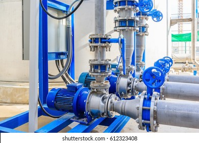 Industrial motor water pump and water pipes