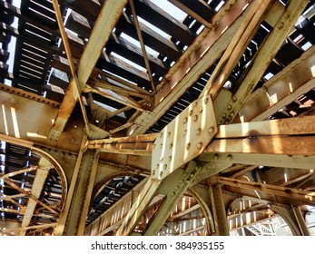 Industrial old weathered rusty steel girders - landscape color photo
