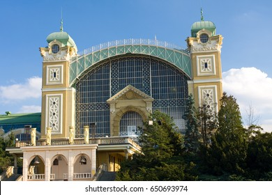 The Industrial Palace in Prague.It is an Art Nouveau building.