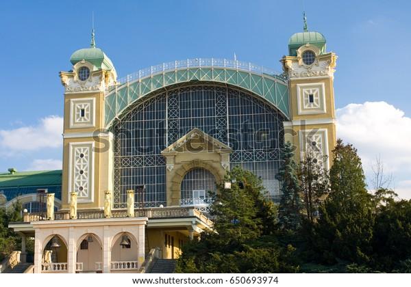 The Industrial Palace in Prague.It is an Art Nouveau building.