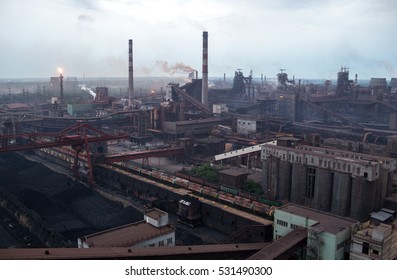 "Industrial panorama from the height at ""Zaporizhstal"" metallurgic plant, Zaporozhye, Ukraine"