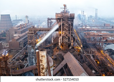 "Industrial panorama from the top of the blast furnace at ""Zaporizhstal"" steel plant, Zaporozhye, Ukraine"