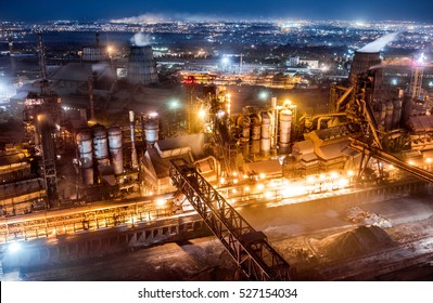 "Industrial panorama from the top of the chimney at ""Zaporizhstal"" steel plant, Zaporozhye, Ukraine"