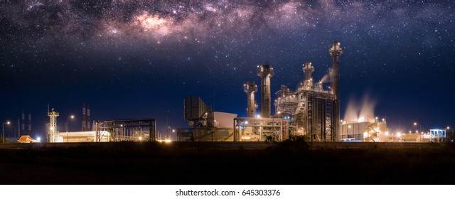 Industrial Panorama view Power plant zone with milky way at night.