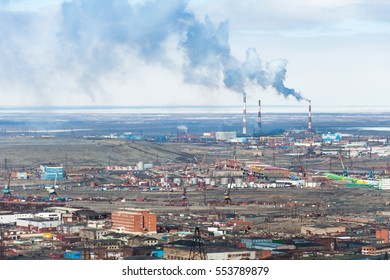 The industrial part of the city of Norilsk. The most northern industrial city in the world.