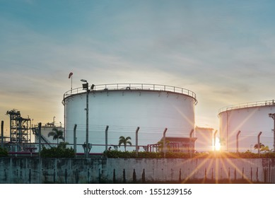 industrial petroleum, Storage tank in Oil refinery plant on sunset