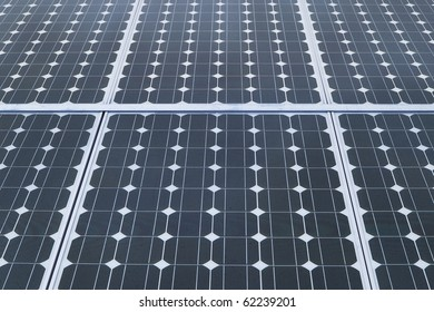 industrial photovoltaic solar panels with blue sky