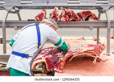 Industrial Pig Farming production at a meat processing plant, Belarus January 5, 2019