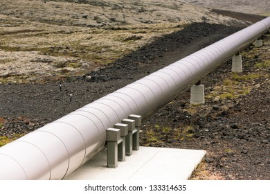 Industrial Pipe at a Geothermal Power Station in Iceland. Horizontal shot