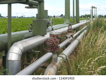 industrial pipelines for oil and gas through an agricultural landscape