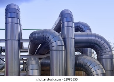 Industrial pipelines in a power station facility