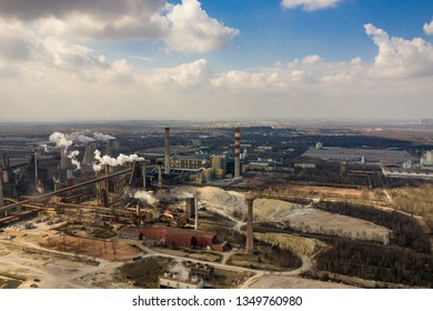 Industrial place from above. Aerial view of steel factory. Photo captured with drone.