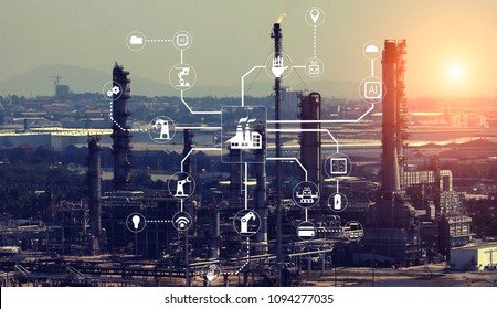 Industrial plant tool with cyber and physical Internet system icons.Industry 4.0 concept