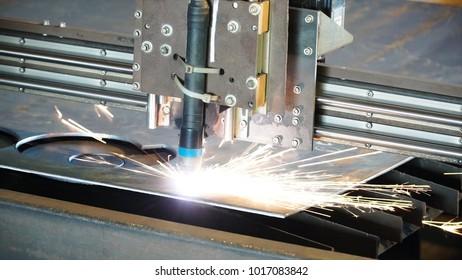 Industrial plasma machine cutting of metal plate. Clip. Cutting metal plates gas cutting. Steel plate cutting by gas machine