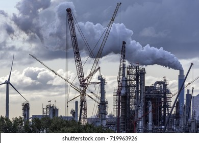 Industrial Pollution - an industrial skyline in Rotterdam - Netherlands