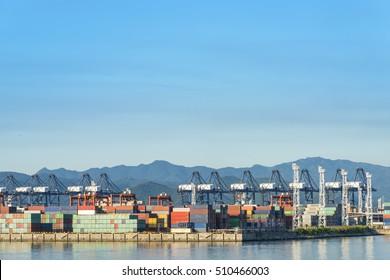 Industrial port container crane