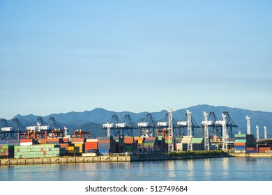 Industrial port container crane with a cruise ship