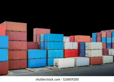 Industrial port with container yard isolated on black background. File contains a clipping path.