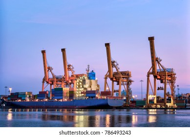 industrial port with containers Bangkok Thailand