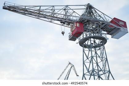 Industrial port crane in winter season, Port of Turku