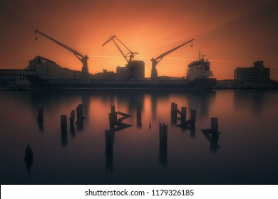 Industrial port with ship and cranes in Zorrozaurre in Bilbao