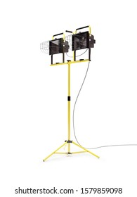 Industrial portable halogen dual light on yellow stand over white background