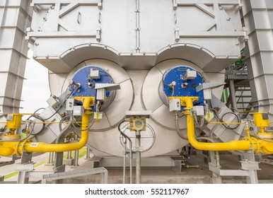 Industrial of a power plant showing a package boiler for auxiliary steam