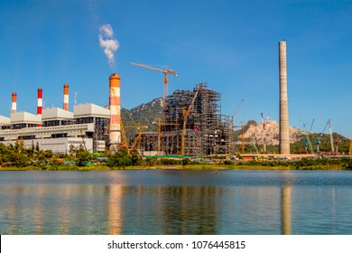 Industrial power plant with smokestack,Mea Moh, Lampang, Thailand.
