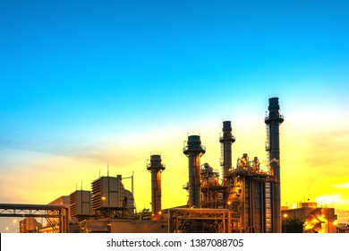 Industrial power plant,gas turbines, generating electricity - images