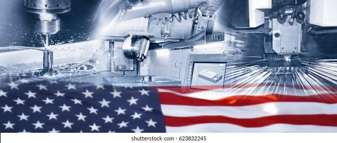 Industrial production and American flag