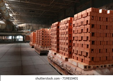 Industrial production of bricks. brick production line in factory