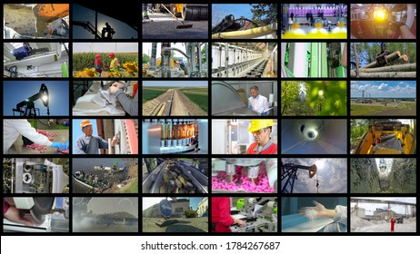 Industrial Production Collage - Professional Occupations - People At Work. Industrial Multi Screen Conceptual Photo. Collage of Photographs Showing People of Different Professions at Work.