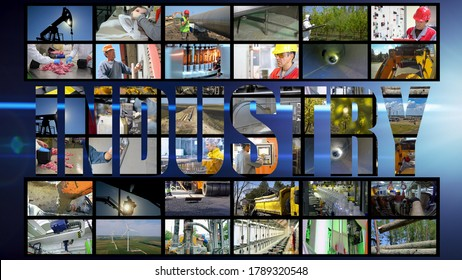 Industrial Production Photo Collage. Collage of Photographs Showing People of Different Professions at Work. Professional Occupations.  Industrial Media Photo Wall.