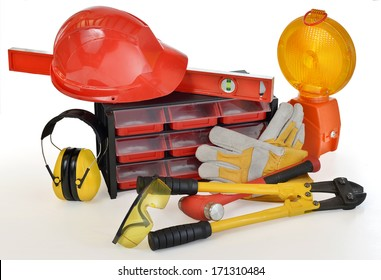 Industrial Protective Workwear. Includes Hard Hat, Gloves, Ear Muff and Eyewear.