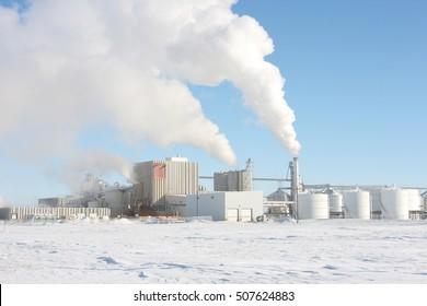industrial refinery in winter