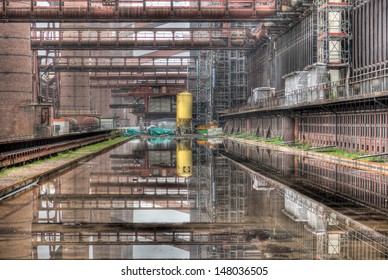 The industrial reflection pool in the deserted Zollverein coking plant in Essen, Germany.