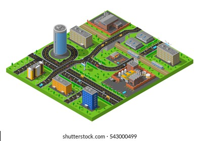 Industrial and residential city district elements isometric composition poster with streets and production facilities abstract  illustration