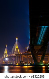 Industrial ring bridge at twilight