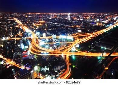 Industrial road at night in Bangkok, Thailand