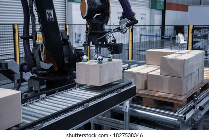 Industrial robot arm loading carton on conveyor in manufacturing production line