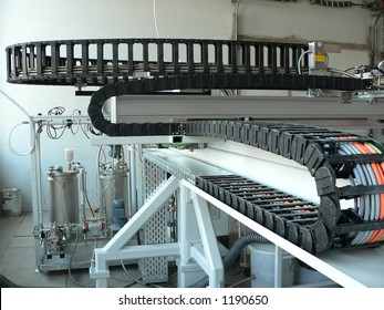 Industrial robot automation with apron