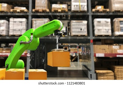 Industrial robot holding a box operating a robot machine with a control panel on stock shelves background