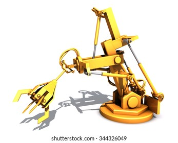 Industrial robot is hydraulically controlled. Industrial robot grabs for something.