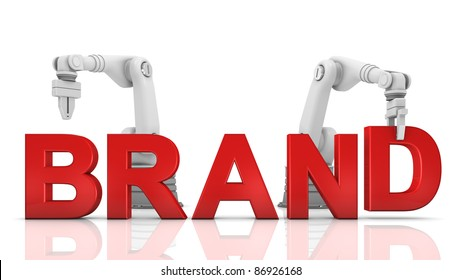 Industrial robotic arms building brand word on white background