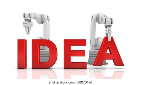 Industrial robotic arms building IDEA word on white background