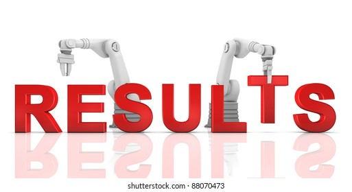 Industrial robotic arms building RESULTS word on white background