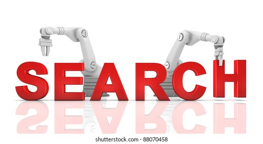 Industrial robotic arms building SEARCH word on white background
