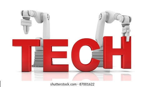 Industrial robotic arms building TECH word on white background