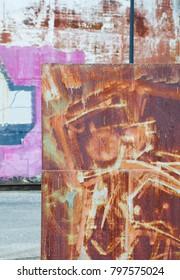 Industrial rusty metal background texture