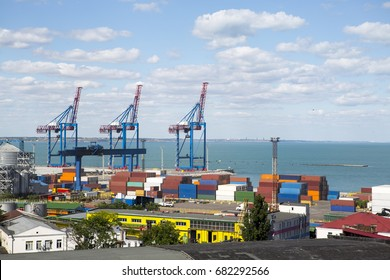 industrial sea port with containers. Container terminal.